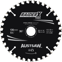 Austsaw RaiderX Timber Blade 136mm x 20/16 Bore x 36 T Thin Kerf