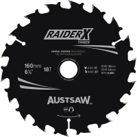 Austsaw RaiderX Timber Blade 160mm x 20/16 Bore x 18 T Thin Kerf