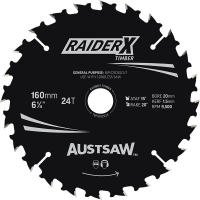 Austsaw RaiderX Timber Blade 160mm x 20/16 Bore x 24 T Thin Kerf
