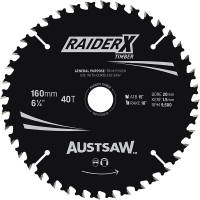 Austsaw RaiderX Timber Blade 160mm x 20/16 Bore x 40 T Thin Kerf