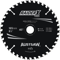 Austsaw RaiderX Timber Blade 165mm x 20/16 Bore x 40 T Thin Kerf