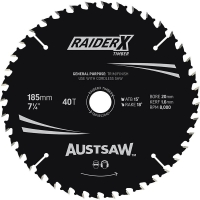 Austsaw RaiderX Timber Blade 185mm x 20/16 Bore x 40 T Thin Kerf