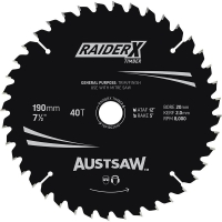 Austsaw RaiderX Timber Blade 190mm x 20 Bore x 40 T