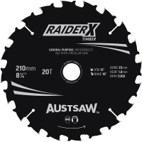Austsaw RaiderX Timber Blade 210mm x 25/16 Bore x 20 T Thin Kerf