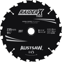 Austsaw RaiderX Timber Blade 235mm x 25 Bore x 20 T Bulk Pack (x20)
