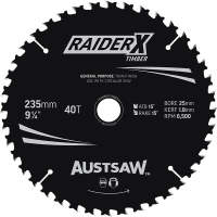 Austsaw RaiderX Timber Blade 235mm x 25 Bore x 40 T Thin Kerf