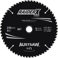 Austsaw RaiderX Timber Blade 235mm x 25 Bore x 60 T Thin Kerf