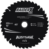 Austsaw RaiderX Timber Blade 255mm x 30 Bore x 25.4mm Bush 40 T Thin Kerf