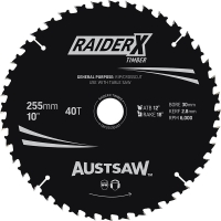 Austsaw RaiderX Timber Blade 255mm x 30 Bore x 25.4mm Bush 40 T Table Saw