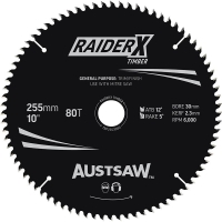 Austsaw RaiderX Blade 255mm x 30 Bore x 25.4mm Bush 80 T Thin Kerf