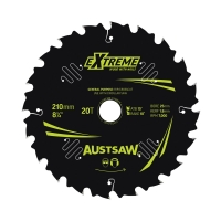 Austsaw Extreme: Wood with Nails Blade 210mm x 25/16 Bore x 20 T Thin Kerf
