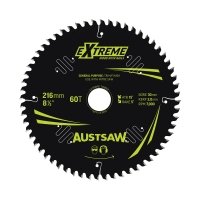 Austsaw Extreme: Wood with Nails Blade 216mm x 30/15.88 Bore x 60 T Thin Kerf