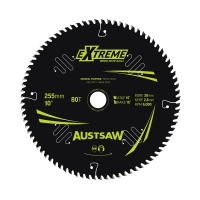Austsaw Extreme: Wood with Nails Blade 255mm x 30 Bore x 80 T Table Saw