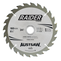 Austsaw Raider Timber Blade 160mm x 20/16 Bore x 24 T Thin Kerf