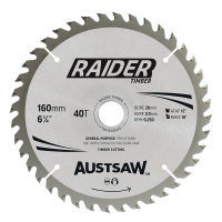 Austsaw Raider Timber Blade 160mm x 20/16 Bore x 40 T Thin Kerf