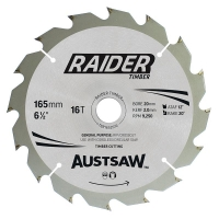 Austsaw Raider Timber Blade 165mm x 20 Bore x 16 T Thin Kerf