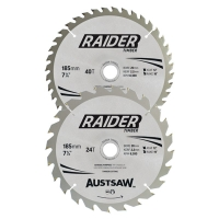 Austsaw Raider Timber Blade 2 Pce Set 185mm x 20/16 Bore x 24T/40T