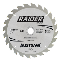 Austsaw Raider Timber Blade 185mm x 20/16 Bore x 24 T