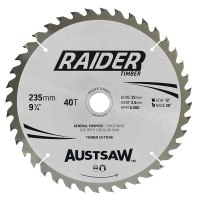 Austsaw Raider Timber Blade 235mm x 25 Bore x 40 T Thin Kerf