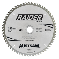 Austsaw Raider Timber Blade 235mm x 25 Bore x 60 T Thin Kerf