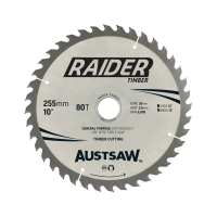 Austsaw Raider Timber Blade 255mm x 30/25.4  Bore x 80 T Thin Kerf