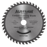 Austsaw - 140mm(5.5in) Thin Kerf Timber Blade - 20/16mm Bore - 40 Teeth