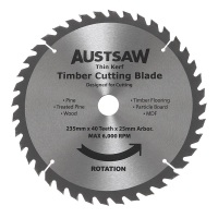 Austsaw - 235mm (9 1/4 in) Thin Kerf Timber Blade - 25mm Bore - 40 Teeth