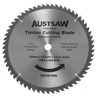 Austsaw - 350mm (14in) Thin Kerf Timber Blade - 25.4mm Bore - 60 Teeth